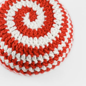 Peppermint Swirl Crochet Baby Hat // Red and White Striped Hat // 0 to 3 Months