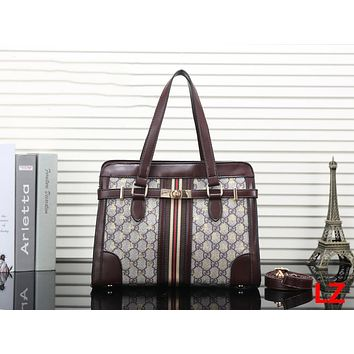 GUCCI Trending Ladies Stripe Leather Shoulder Bag Satchel Crossbody Handbag Coffee I-OM-NBPF