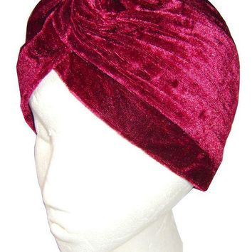CREYCI7 FREE SHIPPING 2017 NEW HEAD WRAP INDIAN STYLE TURBAN HAT BURGUNDY/NAVY/BLACK/DARK GREEN COLOR SOFT VELVET FOR WOMEN/LADIES