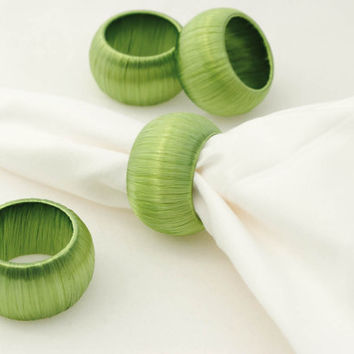 4 Spring Napkin Rings, Pale Green Serviette Holders
