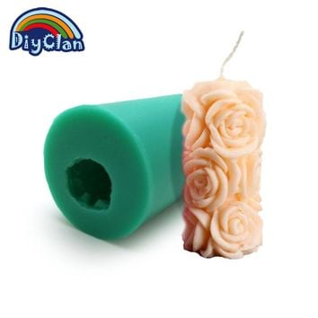 Silicone pudding jelly dessert chocolate mould polymer clay molds 3D rose cylindrical candle form handmade soap mould S0322HM25