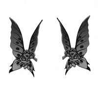 The Last Unicorn Butterfly Earrings in Silver/Black
