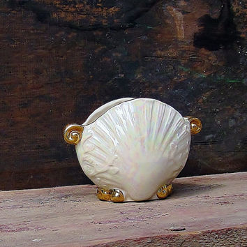 Vintage Pearly Shell Clam Shaped Vase Opalescent Luster Gold Accents Beach Cottage Shabby Chic Decor