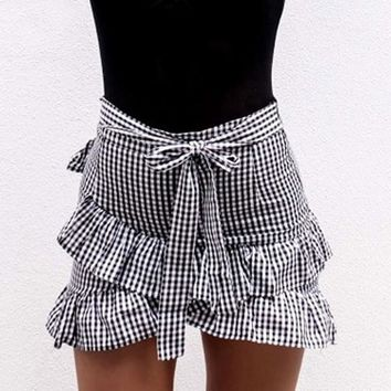 Ruffle Skirt For Women Plaid Casual High Waist Bow Pencil Skirt
