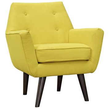 Modway Posit Armchair in Tufted Sunny Fabric on Espresso Finish Legs