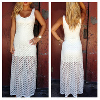 Ivory Crochet Lora Maxi Dress