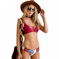 Sexy Floral Strappy Bikini Swim Wear Beach Reversible Swimsuit