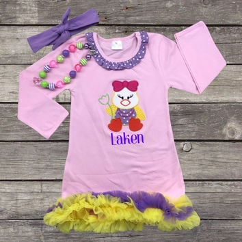 Pink Easter Chick Ruffled Dress