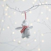 Knitted Snowy Penguin Decoration | Christmas Tree Decorations | The White Company UK