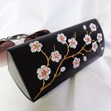 RESERVED FPR RUSLANA Glasses case Cherry blossom case Painted case