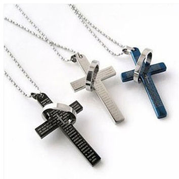 Men Cool Punk Stainless Steel Prayer Cross Pendant Beaded Necklace Jewelry