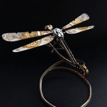 Watch Parts Dragonfly No 23 Sculpture Recycled Mechanical Clockwork Dragon Fly Figurine Watch Stems and Faces Insect Justin Gershenson-Gates