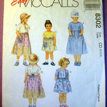 Child's Dress Toddler Girls Size 2, 3, 4 McCall's 8302 Sewing Pattern Uncut
