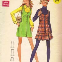 Retro Butterick 5592 Sewing Pattern 1970s Jumper Dress Romper Mini Skirt Tunic Vest Sleeveless Round Neckline Bust 33