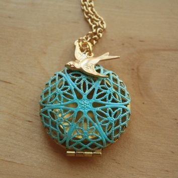 Blue Filigree Locket, Long Fashion Pendant Necklace, Gold Bird Charm, Two Tone Metal Jewelry, Unique Jewellery, Round, Transparent