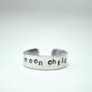 Moon child ring. Hand stamped ring. Moonchild.