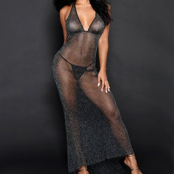 2018 Sexy Women Sheath See Through Long Dress Deep V-Neck Halter Skinny Voile Mesh Backless Vestidos Bodycon Party Club Wear