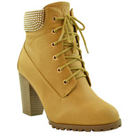 Womens Ankle Boots Lace Up Chunky Heel Rhinestone Booties Tan