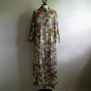 Vintage 1970s Metallic Floral Dress Daisy Flower Power Lurex 70s Maxi Gown Large