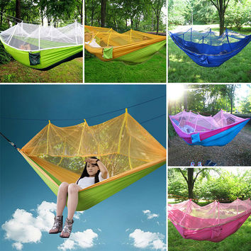 Portable Outdoor Use Mosquito Net Hammock Hanging Bed for Travel Camping Parachute