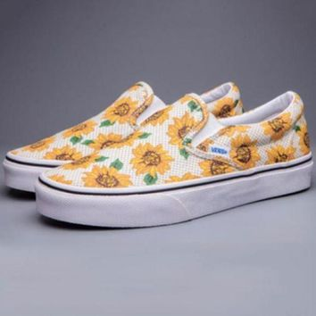 Kalete Vans Casual Yellow Sunflower Low Tops Shoes