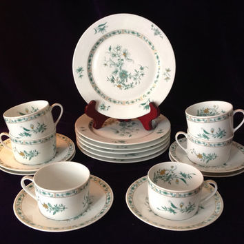 Vintage Limoges -Elegant Bernardaud Pekin - 6 tea cup, saucer & dessert plates - Wedding/Birthday/Engagement/Shower/Gift