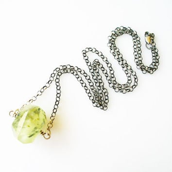 Moss Prehnite Necklace, 925 Sterling Silver with Polished Faceted Nugget Prehnite Stone, Minimal Crystal Jewelry, Green and Silver, Gifts