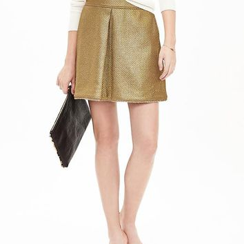 Banana Republic Womens Metallic Inverted Pleat Skirt