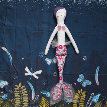 Mermaid Doll - Handmade Heirloom Cloth Doll - Pink and Purple Liberty - Rag Art Doll by Wildflower Dream Dolls