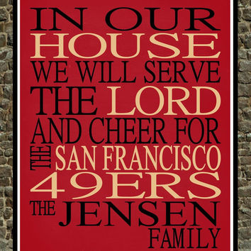 Customized Name San Francisco 49ers football personalized family print poster Christian gift sports wall art - multiple sizes