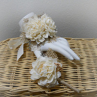 FREE Shipping! Wrist Corsage and/or Boutonniere, Sola Flowers, Rustic Country Wedding, Corsage & Boutonniere. Made to Order.