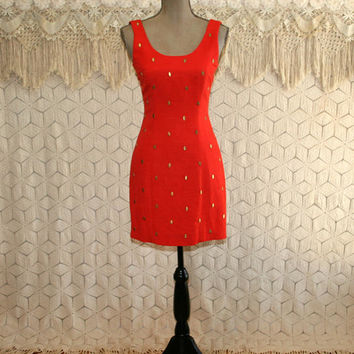 80s 90s Vintage Mini Dress XS Sleeveless Linen Sheath Fitted Sexy Wiggle Dress Coral Red Orange Studs Cocktail Party Womens Vintage Clothing