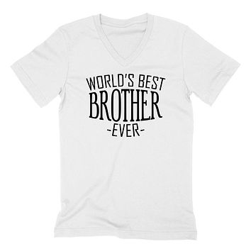 World's best brother ever for him bro brother  christmas holiday gift ideas V Neck T Shirt