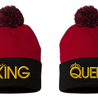 King-Queen Pom Pom-2 Beanie-Red-Black