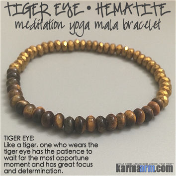 FOCUS: Tiger's Eye • Hematite Yoga Mala Bead Bracelet