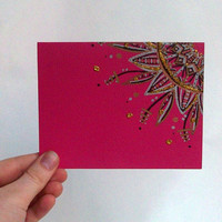 Hot Pink Note Card Gift Set - Christmas Gift Pack - Set of 5 Cards - Envelopes included