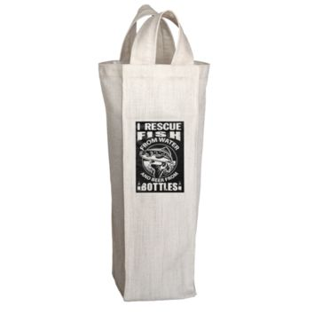 """""""I Rescue Fish From Water And Beer From Bottles"""", 2 Bottle Polyester Wine Tote Bags With 2 Self-Fabric Handles"""