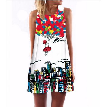 Printed round neck Amazon explosion dress women's dress