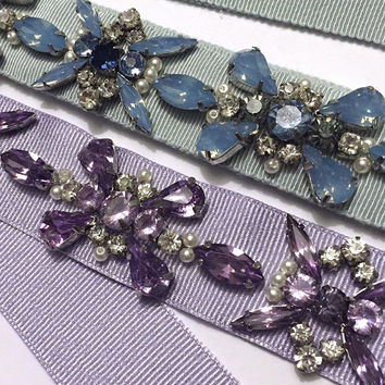 Sky Blue or Lilac Geometric Floral Crystal and Pearl Grosgrain Ribbon Bridesmaids Belt