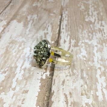 Big Raw Crushed Pyrite Silver Plated Adjustable Ring