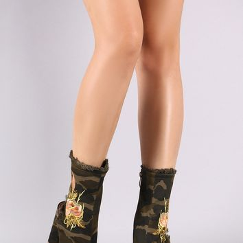 Frayed Camo Floral Embroidered Peep Toe Chunky Heeled Boot