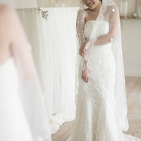 CARPO- one tier walking veil featuring scattered handmade fabric flowers and lace edge