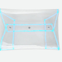 Clear clutch, clear handbag, clear purse, classic envelope bag, security bag, neon bag, clear neon blue bag, neon hanbags, transparent bags