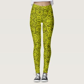 Green flower pattern leggings