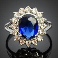 Royal Blue Crystal White Gold Ring | 18K Gold Plated Ring | Crystal Halo Ring | US size 7.25 | September Birthstone | Wedding Promise Ring