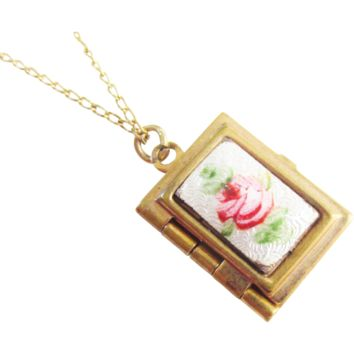 Enameled Guilloche Rose Book Locket Pendant Necklace GF