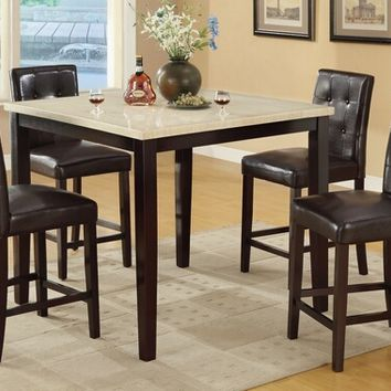 Poundex F2338-F1144 5 pc square cream faux marble espresso finish wood counter height dining table set with espresso faux leather upholstered chairs