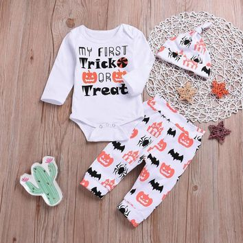 Halloween Costume Clothes Set Newborn Baby Long Sleeve Letter Romper Tops Pumpkin Prin Pants Cap 3Pcs Toddler Girl Clothes Sets