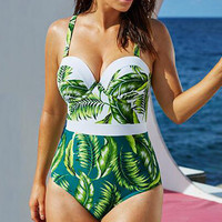Fat Women Plus-Size Print Sling One Piece Swimsuit Swimwear