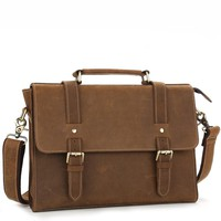 Minimalist Chestnut Leather Mini Briefcase Satchel